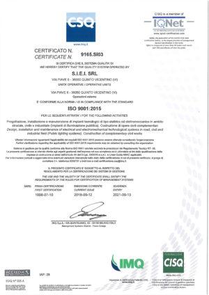Certificato SIEI - IS 9001-2015 - CSQ-1